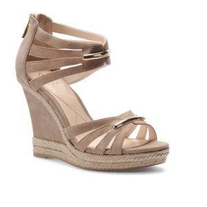 Isola Orenda Nude Suede Wedge Platform Shoes